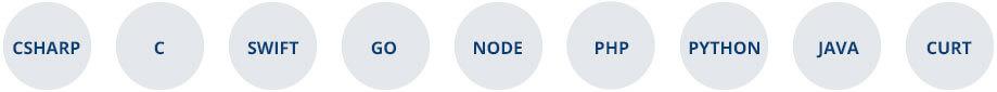 CSHARP, C, SWIFT, GO, NODE, PHP, PYTHON, JAVA, CURT